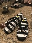 NWT Kate Spade Black  White Stripe Flip Flops Sandals Womens