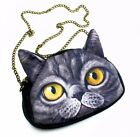 Novelty 3D Print Imitate Cat Face Crossbody Bag Small with Removable Chain Strap
