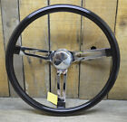 VTG STYLE BLACK STEERING WHEEL 15 RAT HOT ROD CUSTOM BOMB LOWRIDER GASSER VW H