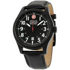 Wenger Swiss Military Black Dial Leather Strap Men's Watch WW79263