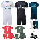 2017 18 Football Soccer Kids Boy Youth Short Sleeve Jersey Team Suit Kit+Kneepad