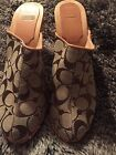 COACH FELICITY WOODEN CLOGS MULES TAN CANVAS HEEL WOMENS SIZEB B STUDDED SHOES