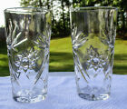 Anchor Hocking 2 Early American Prescut Ice Tea Tumblers Glasses Star of David