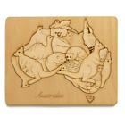 Native Australian Animals Plain wooden jigsaw map puzzle