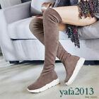 Womens Stretch Over Knee Boots Thigh High Fashion Sneaker Ankle Boots Casual