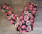 NEW Lularoe Black Pink Red White Beauty and the Beast Roses Floral Leggings OS