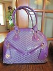 SHARIF LARGE PURPLE PATENT LEATHER AND SUEDE DOME SATCHEL HANDBAG PURSE NICE