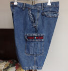 Vintage Tommy Jeans Men Cargo Shorts Spell Out Blue 34