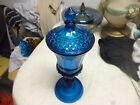 Vintage Indiana Blue Diamond Point Glass Urn Compote Candy Dish with lid 12 3/4