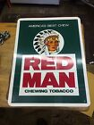 VINTAGE ORIGINAL RED MAN CHEWING CHEW TOBACCO PLASTIC SIGN 12X16