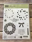 Stampin Up WONDROUS WREATH Retired Rubber Stamps Scrapbooking Christmas DIY
