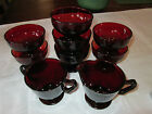 LOT of 7 FOOTED SHERBETS! Vintage ROYAL RUBY: Anchor Hocking: lovely!