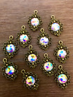 10 Rainbow Kaleidoscope Bronze Flower Pendants 12mm Cabochons Charms