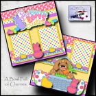 SOMEBUNNY LOVES EASTER 2 premade scrapbook pages paper printed layout CHERRY