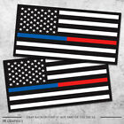 2x Thin Blue And Red Line Flags Firefighter Sticker Police Officer Law