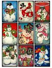 9 Vintage Retro Christmas Snowmen Hang Tags Scrapbooking Paper Craft 94