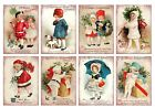 8 Christmas Vintage Kids Hang Tags ATC Cards Scrapbooking 353