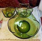 Vintage Avocado Green Anchor Hocking Glass Chip and Dip Set + extra side dish