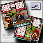 PIRATE boy girl 2 premade scrapbooking pages paper piecing printed BY CHERRY
