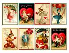8 Vintage Valentine Hang Tags ATC Cards Scrapbooking Paper Crafts 163