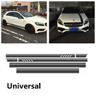 Car Top Side Stripe Skirt Roof And Hood Decal Graphics Vinyl Sticker Matte Black