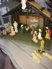 VINTAGE ITALY PAPER MACHE COMPOSITE NATIVITY SET 18 Pieces