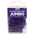 JAM Paper Colored Jumbo Paper Clips Purple Paperclips 75 pack