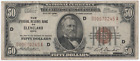 1929 Brown Seal 50 Fifty Dollar Bill National Currency Note Cleveland Series D