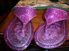 Circo purple rubber glitter thong sandal women size 4 5 shoes