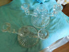 Lovely Pair of  ART DECO Candle Holders ~ Pressed Glass Candelabras ~ FREE SHIP~