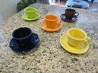 Fiesta Cups & Saucers by Homer Laughlin,  Multi Colors - Set of 5