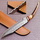 DEER ANTLER HORN CUSTOM HAND FORGED DAMASCUS STEEL HUNTING KNIFE CK 906