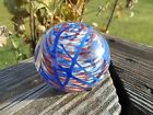 Terry Crider hand Blown Glass Red White Blue Hanging Hearts Paper Weight 1980