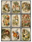 9 Alice in Wonderland Vintage Hang Tags ATC Scrapbooking 381