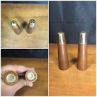 Vintage Wooden Table Salt  Pepper Shakers 4 Tall Metal Cap