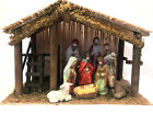 Christmas Nativity Scene 10 pc glass hand painted nativity Wooden Stable Jesus