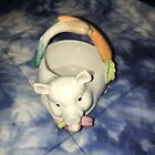 Fitz And Floyd French Market Pig Flower Planter Basket Candy Dish