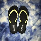 REEF Black Stargazer 7 Flip Flops Thongs Sandals Yellow Sparkle Glitter