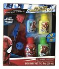 1X Spider Man 7 Piece Bath Fingerpaint Blue-Yellow-Red-Green Play Set Red Roller