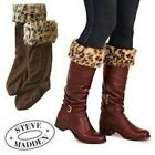 Steve Madden Leopard Faux Fur Cuff Fleece Boot Liner Hunter Brown Welly Socks