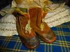 Early antique Baby Doll brown high top button up shoes blue leather trim