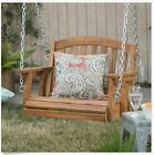 Porch Swing Chair Hangs Seat Wood Outdoor Tree Single Backyard 1 Person Natural