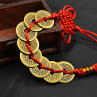 Chinese Red Rope Knot Bronze Coin China Old Dynasty Antique Cash Currency 5pcs