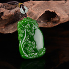 Chinese Exquisite Natural jadeite Green pine vase peace carving Pendants