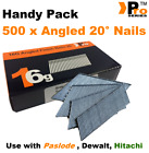 16 Gauge ANGLED 20° Nails - 500 nail pack for Dewalt , Paslode , Hitachi ,  02
