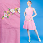 PINK DAISY Vtg 60s Super Cute Casual Cotton Wrap Dress + Patch Pockets M L