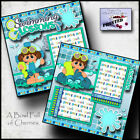 SWIMMING LESSONS 2 premade scrapbook pages paper printed layout 4 album CHERRY