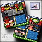 POWER RANGERS superhero 2 premade scrapbooking pages paper printed layout CHERRY