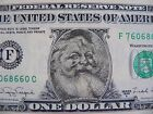 One Santa Claus Uncirculated 1 one dollar bill legal tender 1988A with Envelope