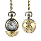 Retro Soccer Ball Shape Bronze Quartz Pocket Watch Chain Necklace Jewelry Gifts
